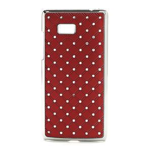 Drahokamové puzdro pre HTC Desire 600- červené - 1