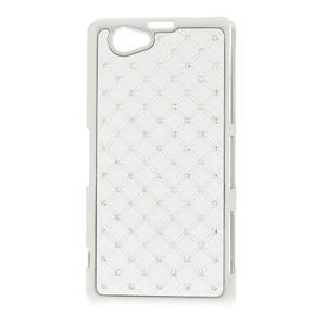 Drahokamovej puzdro pre Sony Xperia Z1 Compact D5503- biele - 1