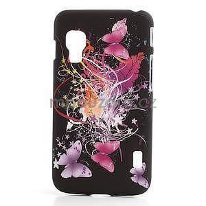 Plastové puzdro pre LG Optimus L5 Dual E455- Motýl a květ - 1