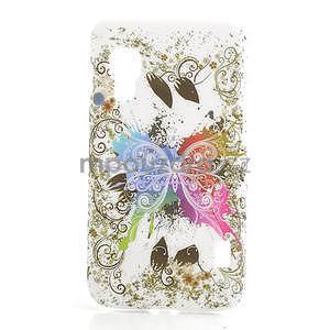 Plastové puzdro pre LG Optimus L5 Dual E455- motýl biele pozadí - 1
