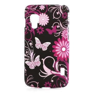 Plastové puzdro pre LG Optimus L5 Dual E455- motýlový květ - 1