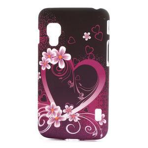 Plastové puzdro pre LG Optimus L5 Dual E455- květové srdce - 1