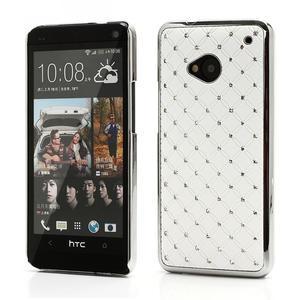 Drahokamové puzdro pre HTC one M7- biele - 1