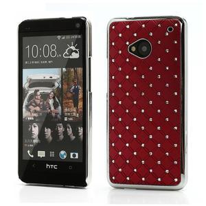 Drahokamové puzdro pre HTC one M7- červené - 1