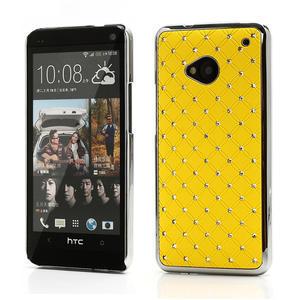 Drahokamové puzdro pre HTC one M7- žlté - 1