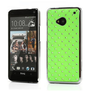 Drahokamové puzdro pre HTC one M7- zelené - 1