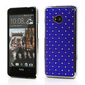 Drahokamové puzdro pre HTC one M7- modré - 1
