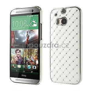 Drahokamové puzdro pre HTC one M8- biele - 1