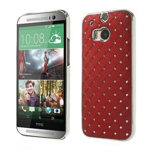 Drahokamové puzdro pre HTC one M8- červené - 1