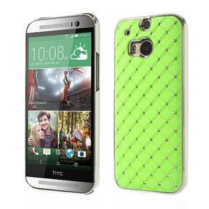 Drahokamové puzdro pre HTC one M8- zelené - 1