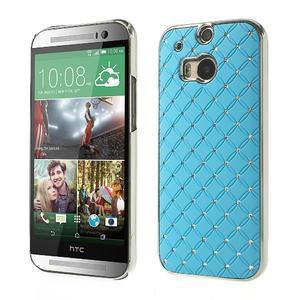 Drahokamové puzdro pre HTC one M8- svetlo modré - 1