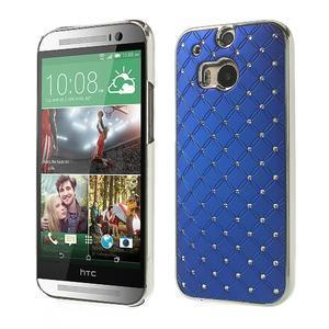 Drahokamové puzdro pre HTC one M8- modré - 1