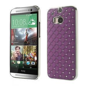 Drahokamové puzdro pre HTC one M8- fialové - 1