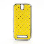 Drahokamové puzdro pre HTC One SV- žlté - 1/5