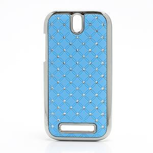 Drahokamové puzdro pre HTC One SV- svetlo modré - 1
