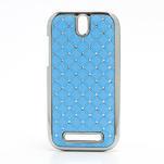 Drahokamové puzdro pre HTC One SV- svetlo modré - 1/5