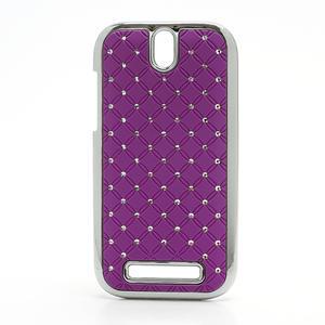 Drahokamové puzdro pre HTC One SV-fialové - 1