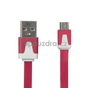 Nabíjecí, prepojovací micro USB kabel, růžový / biely - 1