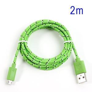 Tkaný odolný micro USB kabel s délkou 2m - zelený - 1
