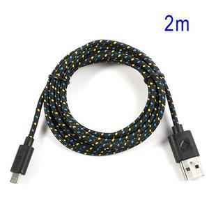 Tkaný odolný micro USB kabel s délkou 2m - černý - 1