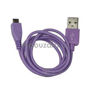 micro USB kabel - délka 1 m, fialový