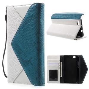 Luxusní peněženkové pouzdro na Huawei P8 Lite - bílé / modré - 1