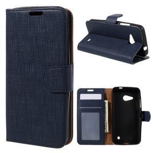 Cloth PU kožené puzdro pre mobil Microsoft Lumia 550 - tmavo modré - 1