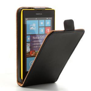 Flipové čierné puzdro na Nokia Lumia 520 - 1