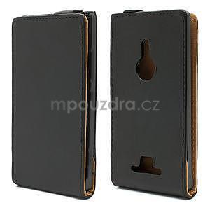 Flipové čierné puzdro pre Nokia Lumia 925 - 1