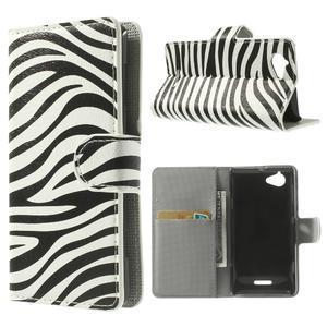 Peňaženkové puzdro na Sony Xperia L C2105 - zebrovité - 1