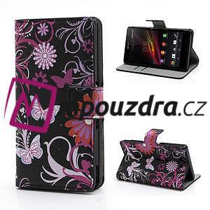 Peňaženkové puzdro pre Sony Xperia Z C6603 - motýľe - 1