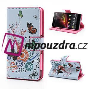 Peňaženkové puzdro pre Sony Xperia Z C6603 - farební motýľe - 1