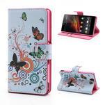 Peňaženkové puzdro pre Sony Xperia Z C6603 - farební motýľe - 1/7