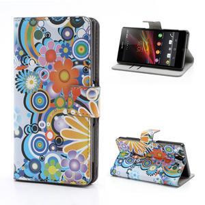 Peňaženkové puzdro pre Sony Xperia Z C6603 - farebné vzory - 1