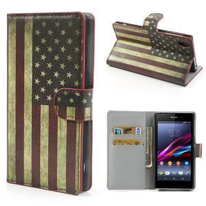 Peňaženkové puzdro pre Sony Xperia Z1 C6903 L39- USA vlajka - 1