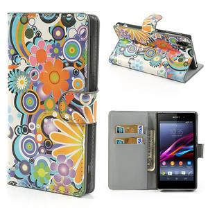 Peněženkové pouzdro na Sony Xperia Z1 C6903 L39- barevné květy - 1