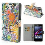 Peněženkové pouzdro na Sony Xperia Z1 C6903 L39- barevné květy - 1/7