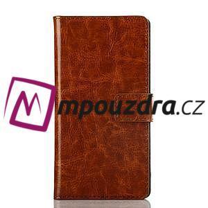 Peňaženkové kožené puzdro na Sony Xperia M2 D2302 - hnedé - 1