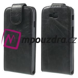 Flipové kožené puzdro na LG Optimus L9 II D605 - čierné - 1