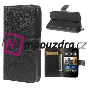 Peňaženkové kožené puzdro na HTC Desire 310- čierné - 1