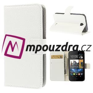 Peňaženkové kožené puzdro na HTC Desire 310- biele - 1