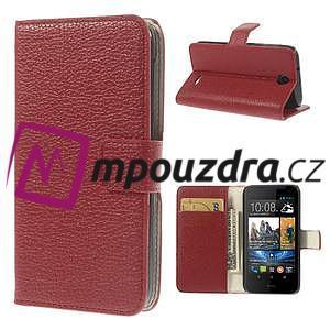 Peňaženkové kožené puzdro na HTC Desire 310- červené - 1
