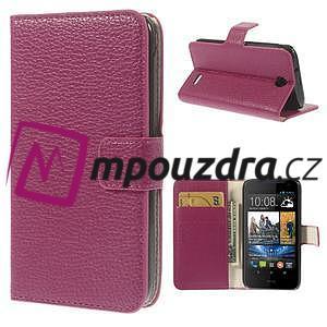 Peňaženkové kožené puzdro pre HTC Desire 310- ružové - 1