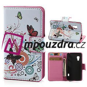 Peňaženkové puzdro pre LG Optimus L5 Dual E455-barevní motýli - 1