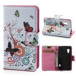 Peňaženkové puzdro pre LG Optimus L5 Dual E455-barevní motýli - 1/5