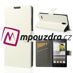 Peňaženkové puzdro na Huawei Ascend G700- biele