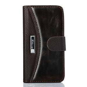 PU kožené flipové pouzdro na Samsung Galaxy S5 mini G-800- hnědé - 1