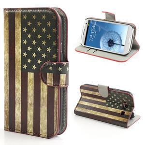 Peňaženkové puzdro pre Samsung Galaxy S3 i9300- USA vlajka - 1