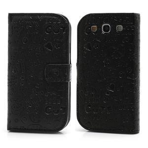 Peňaženkové puzdro pre Samsung Galaxy S3 i9300- čierné - 1