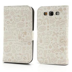 Peňaženkové puzdro na Samsung Galaxy S3 i9300- biele - 1